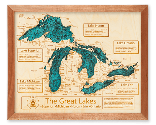 Blank Map Of Canada With Great Lakes.Lake Art Original Authentic 100 Made In America