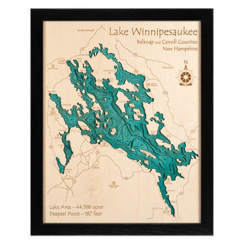 Black Frame Laser Cut Wood Maps