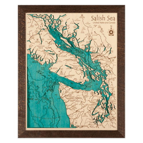 Rustic Barnwood Framed Wood Relief Map