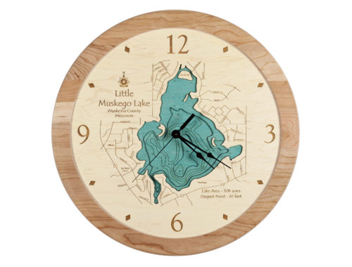 3D Round Wood Lake Clock