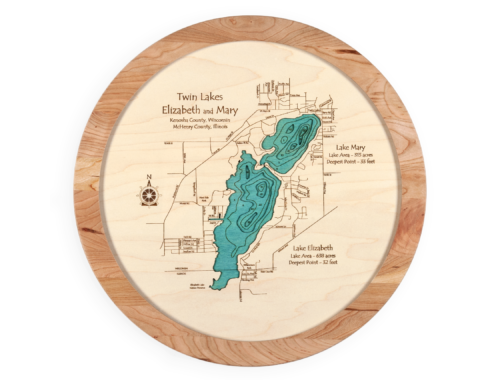 3D Wood Custom Lake Lazy Susan